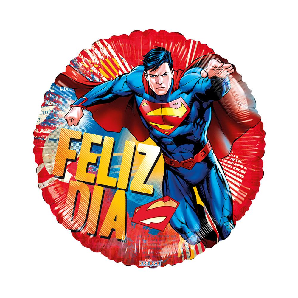 Globo Metalico Feliz Dia Super Man de Cumpleaños, 18 Pulgadas en Forma de Circulo, Marca Kaleidoscope