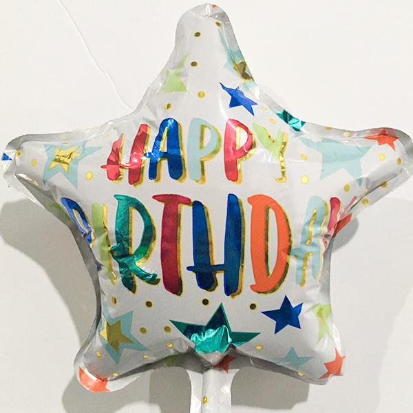 Globo Metalico Happy Birthday Lluvia de Estrellas de Cumpleaños, 09 Pulgadas en Forma de Estrella, Marca Anagram