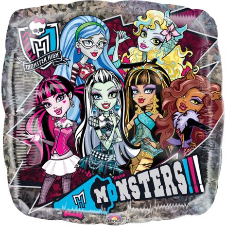 Globo Metalico Monster High Posando y Sonriendo de Personaje, 09 Pulgadas en Forma de Cuadrado, Acabado Holografico, Marca Anagram