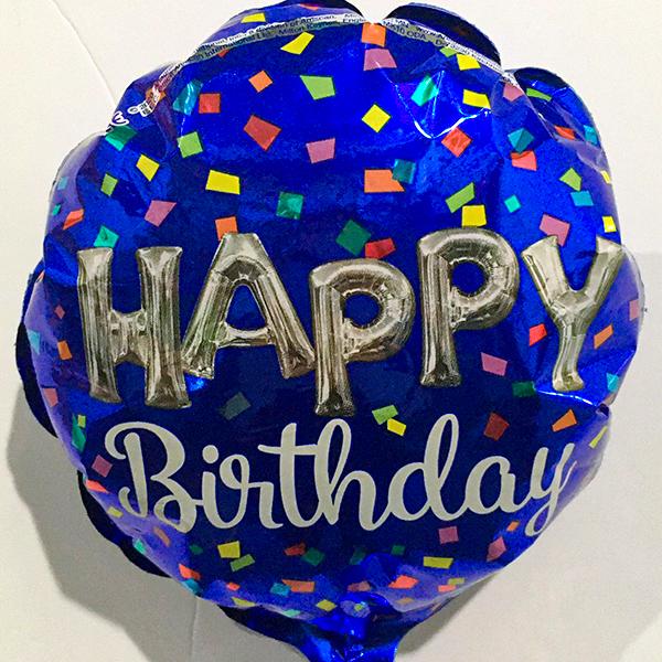 Globo Metalico Happy Birthday Magia Azul de Cumpleaños, 09 Pulgadas en Forma de Circulo, Marca Anagram