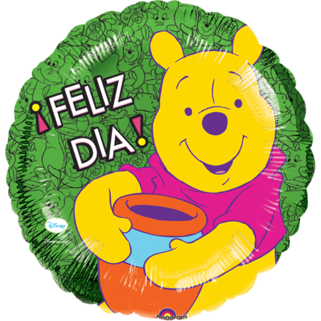 Globo Metalico Feliz Dia Winnie Pooh Sonriendo de Personaje, 09 Pulgadas en Forma de Cuadrado, Marca Anagram