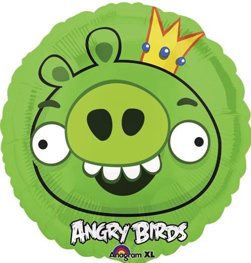 Globo Metalico Angry Birds Foreman Pig de Cumpleaños, 18 Pulgadas en Forma de Circulo, Marca Anagram