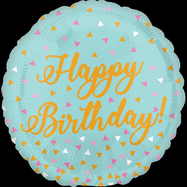 Globo Metalico Happy Birthday Magia Confetti de Cumpleaños, 09 Pulgadas en Forma de Circulo, Marca Anagram