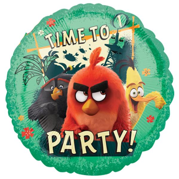 Globo Metalico Time To Party Angry Birds de Cumpleaños, 18 Pulgadas en Forma de Circulo, Marca Anagram