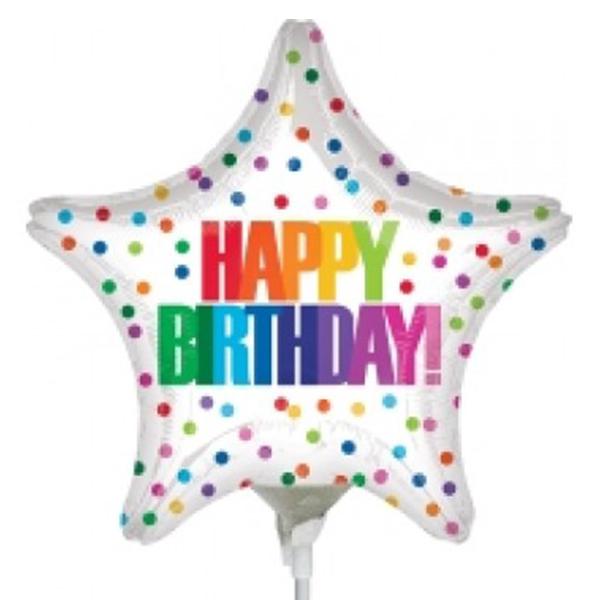 Globo Metalico Happy Birthday Lluvia de Colores de Cumpleaños, 09 Pulgadas en Forma de Estrella, Marca Anagram