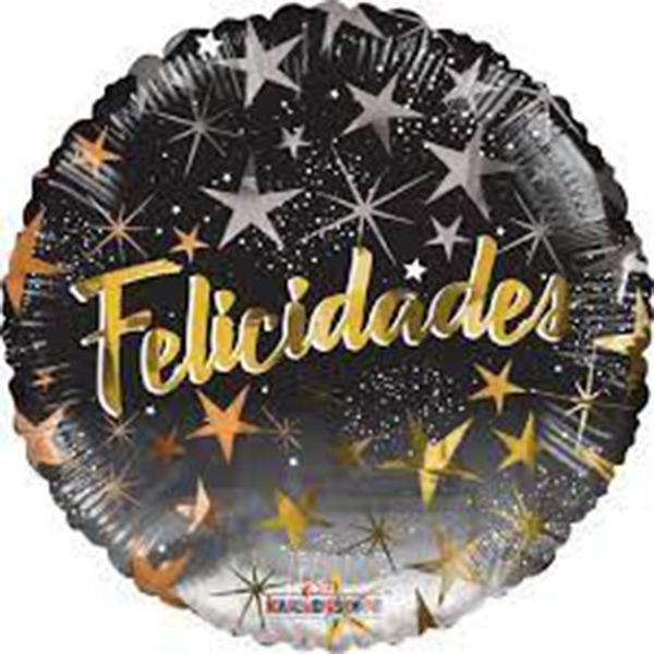 Globo Metalico Felicidades Magia de Estrellas de Cumpleaños, 09 Pulgadas en Forma de Circulo, Marca Kaleidoscope