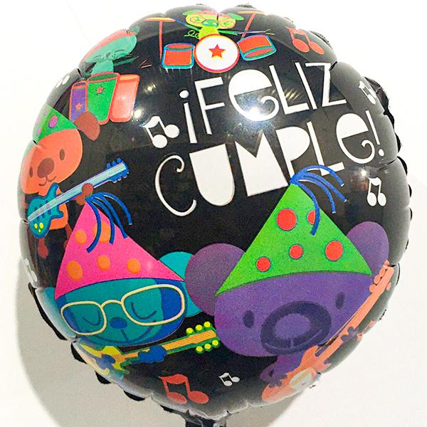 Globo Metalico Feliz Cumple Ositos Festejando de Cumpleaños, 09 Pulgadas en Forma de Circulo, Marca Anagram