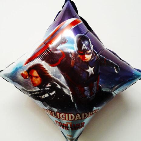 Globo Metalico Felicidades Civil War Capitan America de Personaje, 09 Pulgadas en Forma de Rombo, Marca Anagram