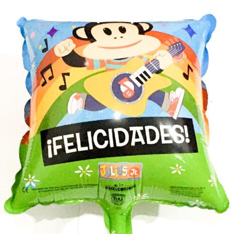 Globo Metalico Felicidades Julius Festejando y Cantando de Personaje, 09 Pulgadas en Forma de Cuadrado, Marca Kaleidoscope