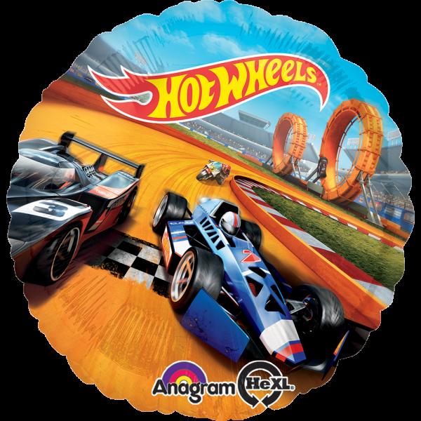 Globo Metalico Hot Wheels Carrera de Cumpleaños, 18 Pulgadas en Forma de Circulo, Marca Anagram