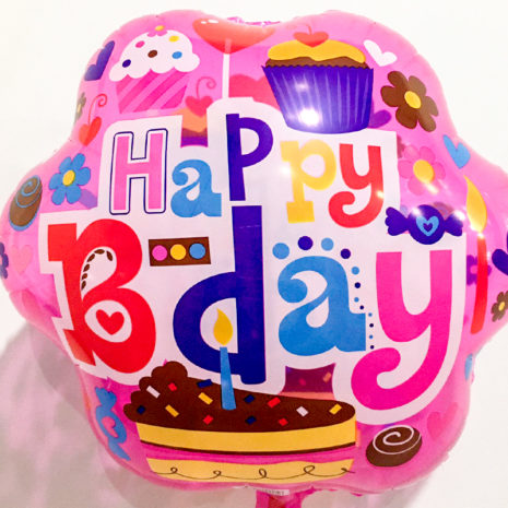 Globo Metalico Happy Birthday Cupcake y Velas de Cumplea?os, 18 Pulgadas en Forma de Circulo, Acabado Holografico, Marca Kaleidoscope
