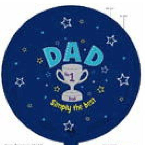 Globo Metalico Dad No.1 Simply The Best Magia Azul de Papa, 18 Pulgadas en Forma de Circulo, Marca Kaleidoscope