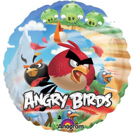 Globo Metalico Angry Birds Al ataque de Personaje, 09 Pulgadas en Forma de Circulo, Marca Anagram