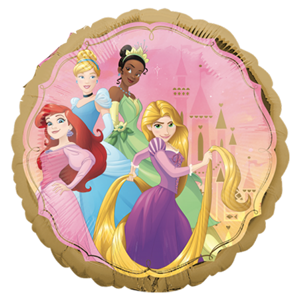 Globo Metalico Princesas Disney Magia Dorada de Cumpleaños, 18 Pulgadas en Forma de Circulo, Marca Anagram