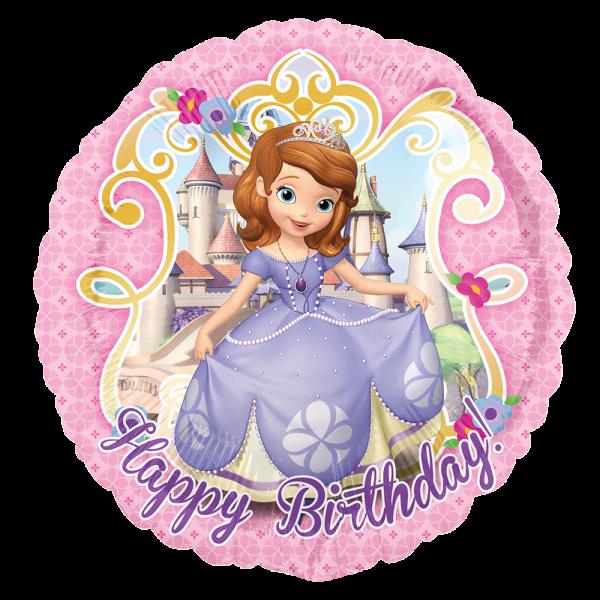 Globo Metalico Princesa Sofia Magia Rosa de Cumpleaños, 18 Pulgadas en Forma de Circulo, Marca Anagram