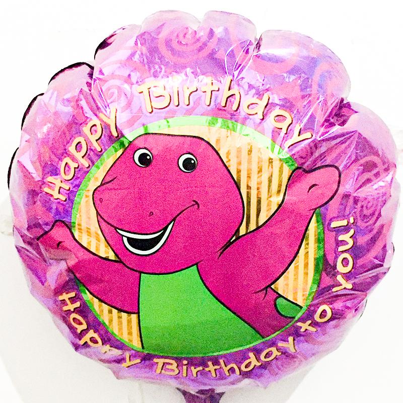 Globo Metalico Happy Birthday Barney de Cumpleaños, 18 Pulgadas en Forma de Circulo, Marca Anagram