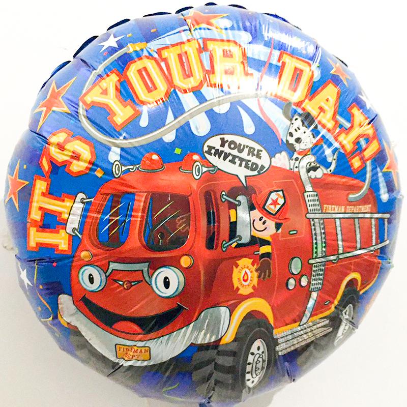 Globo Metalico Its Your Day Camion de Bombero de Cumpleaños, 18 Pulgadas en Forma de Circulo, Marca Kaleidoscope