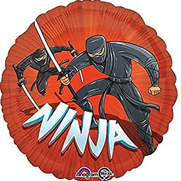 Globo Metalico Ninja al Ataque de Cumpleaños, 18 Pulgadas en Forma de Circulo, Marca Anagram