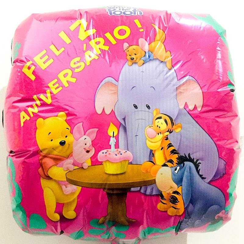 Globo Metalico Feliz Aniversario Winnie The Pooh de Cumpleaños, 18 Pulgadas en Forma de Cuadrado, Marca Anagram