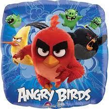 Globo Metalico Angry Birds al Ataque de Cumpleaños, 18 Pulgadas en Forma de Cuadrado, Marca Anagram