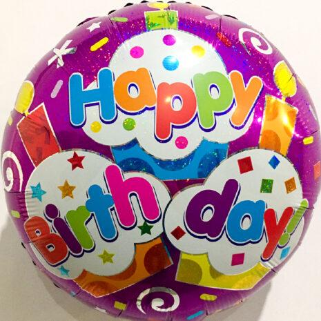 Globo Metalico Happy Birthday Magia Cristal Rosa de Cumplea?os, 18 Pulgadas en Forma de Circulo, Marca Kaleidoscope
