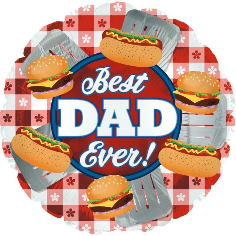 Globo Metalico Best Dad Ever Magia Hamburguesa de Papa, 18 Pulgadas en Forma de Circulo, Marca Anagram