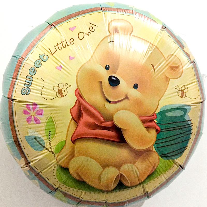 Globo Metalico Winnie Pooh Bebe de Cumpleaños, 18 Pulgadas en Forma de Circulo, Marca Kaleidoscope