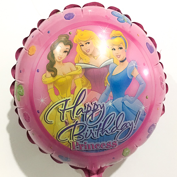 Globo Metalico Happy Birthday Magia Rosa Princesas Disney de Cumpleaños, 09 Pulgadas en Forma de Circulo, Marca Anagram