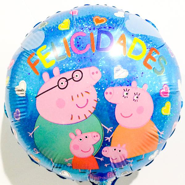 Globo Metalico Felicidades Familia Peppa Pig de Cumpleaños, 09 Pulgadas en Forma de Circulo, Marca Kaleidoscope