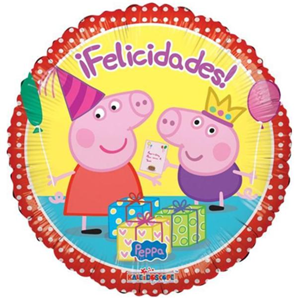Globo Metalico Felicidades Peppa Pig Festejando de Cumpleaños, 09 Pulgadas en Forma de Circulo, Marca Kaleidoscope