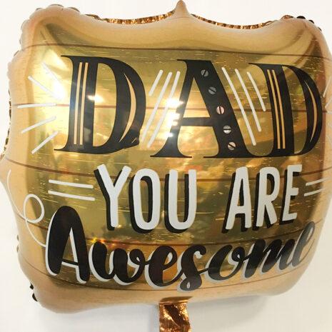 Globo Metalico Dad You Are Awesome de Papa, 18 Pulgadas en Forma de Cuadrado, Marca Kaleidoscope