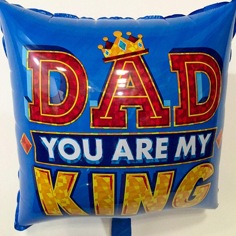 Globo Metalico Dad You Are My King de Papa, 18 Pulgadas en Forma de Cuadrado, Marca Kaleidoscope