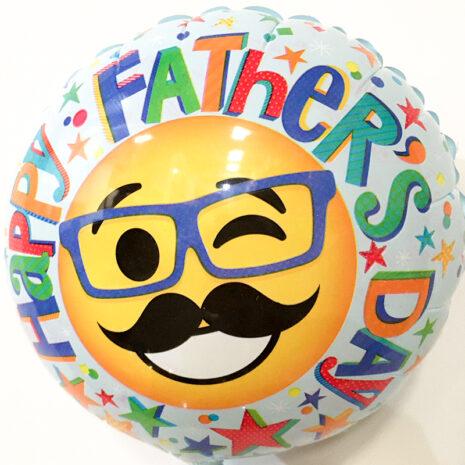 Globo Metalico Happy Fathers Day Emoji de Papa, 09 Pulgadas en Forma de Circulo, Marca Kaleidoscope