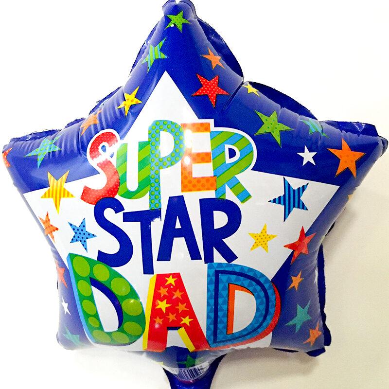 Globo Metalico Super Star Dad de Papa, 09 Pulgadas en Forma de Estrella, Marca Kaleidoscope