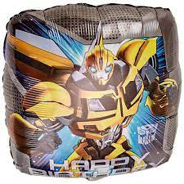 Globo Metalico Happy Birthday Bumblebbe Transformers de Cumpleaños, 18 Pulgadas en Forma de Cuadrado, Marca Anagram