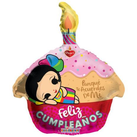 Globo Metalico Feliz Cumpleaños Panque Marias de Cumpleaños, 18 Pulgadas en Forma de Cup Cake, Marca Kaleidoscope