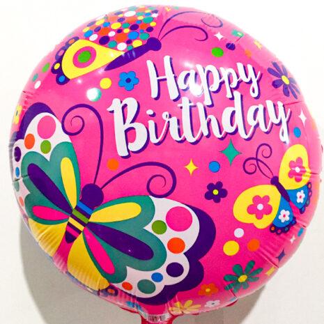 Globo Metalico Happy Birthday Flores Magicas de Cumpleaños, 18 Pulgadas en Forma de Circulo, Marca Kaleidoscope