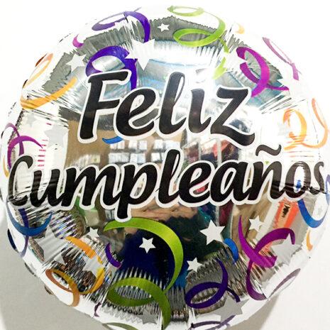 Globo Metalico Feliz Cumpleaños Festejo Platinum de Cumpleaños, 18 Pulgadas en Forma de Circulo, Marca Kaleidoscope