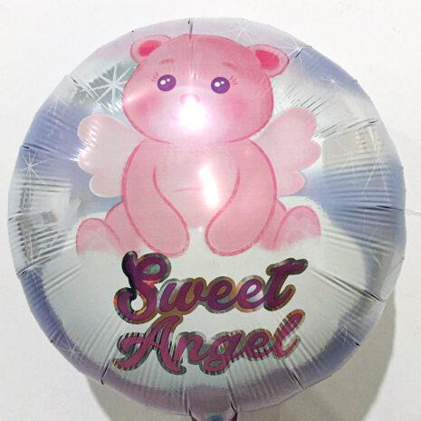 Globo Metalico Sweet Angel Magia de Osito de Baby Shower, 18 Pulgadas en Forma de Circulo, Marca Anagram