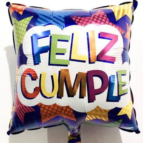 Globo Metalico Feliz Cumple Festejo Azul de Cumpleaños, 18 Pulgadas en Forma de Cuadrado, Marca Kaleidoscope