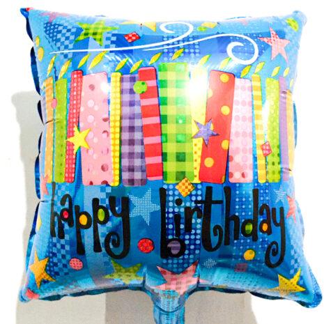 Globo Metalico Happy Birthday Velas Magicas de Cumpleaños, 09 Pulgadas en Forma de Cuadrado, Marca Kaleidoscope
