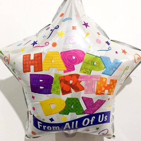 Globo Metalico Happy Birthday Festejo Magico de Cumpleaños, 18 Pulgadas en Forma de Estrella, Marca Kaleidoscope