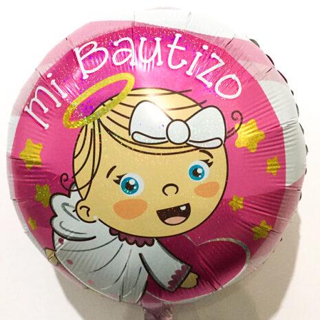 Globo Metalico Mi Bautizo Destellos de Estrellas de Bebes y Religiosos, 18 Pulgadas en Forma de Circulo, Marca Kaleidoscope