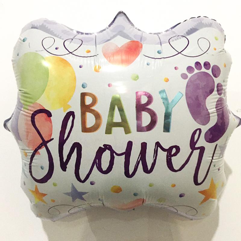 Globo Metalico Baby Shower Pies Descalsos de Baby Shower, 18 Pulgadas en Forma de Cuadrado, Marca Kaleidoscope