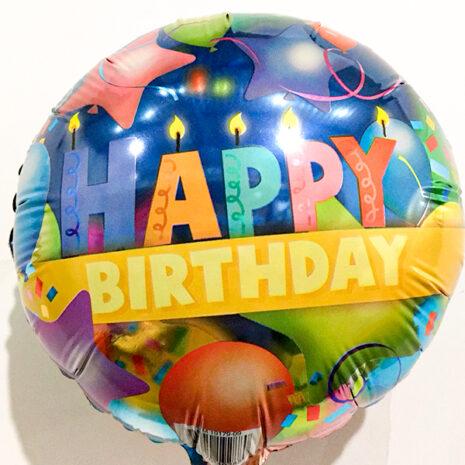 Globo Metalico Happy Birthday Velas y Globos de Cumpleaños, 09 Pulgadas en Forma de Circulo, Marca Kaleidoscope