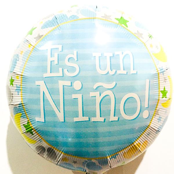 Globo Metalico Es un Niño Huellitas de Bebe de Baby Shower, 18 Pulgadas en Forma de Circulo, Marca Anagram