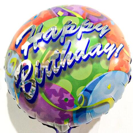 Globo Metalico Happy Birthday de Cumpleaños, 09 Pulgadas en Forma de Circulo, Marca Kaleidoscope