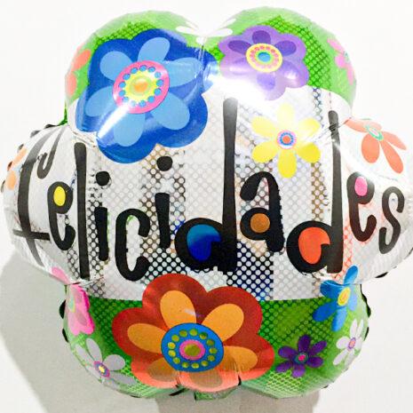 Globo Metalico Felicidades Primaveral de Cumpleaños, 18 Pulgadas en Forma de Flor, Marca Kaleidoscope