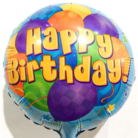 Globo Metalico Happy Birthday Lluvia de Globos de Cumpleaños, 09 Pulgadas en Forma de Circulo, Marca Kaleidoscope
