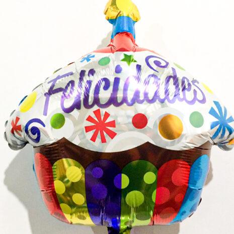 Globo Metalico Felicidades Cup Cake Multicolor de Cumpleaños, 18 Pulgadas en Forma de Cup , CakeMarca Kaleidoscope